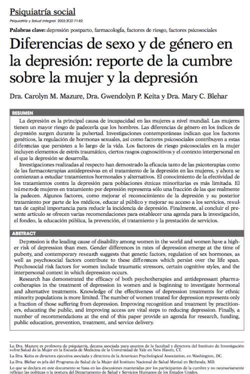 Psiquiatría social: Diferencias de sexo y de género en la depresión: reporte de la cumbre sobre la mujer y la depresión