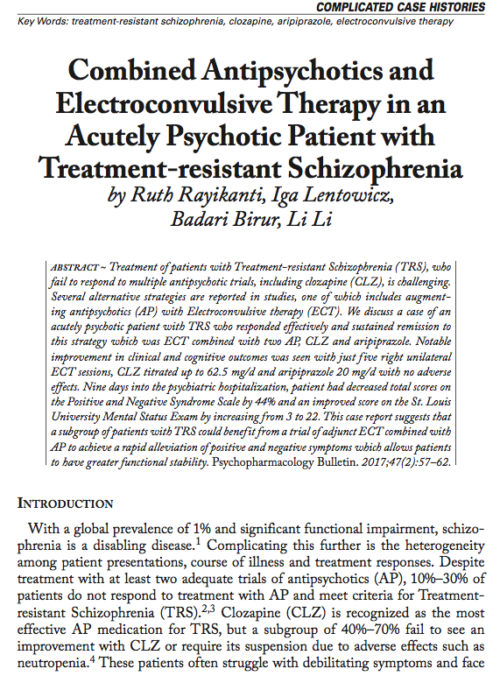 Combined Antipsychotics and Electroconvulsive Therapy in an Acutely Psychotic Patient with Treatment-Resistant Schizophrenia