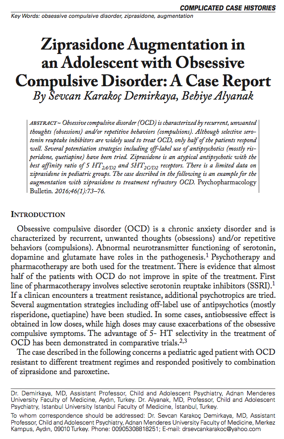 Ziprasidone Augmentation in an Adolescent with Obsessive Compulsive Disorder: A Case Report