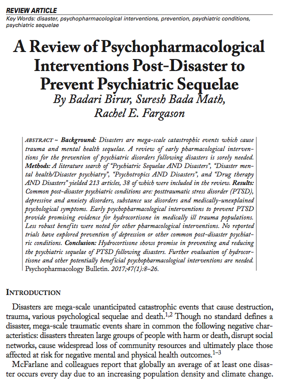 A Review of Psychopharmacological Interventions Post-Disaster to Prevent Psychiatric Sequelae