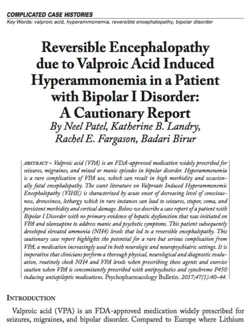 Reversible Encephalopathy due to Valproic Acid Induced Hyperammonemia in a Patient with Bipolar I Disorder: A Cautionary Report