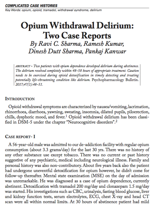 Opium Withdrawal Delirium: Two Case Reports