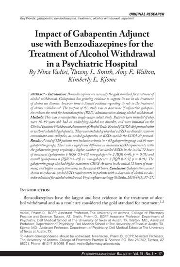 Impact of Gabapentin Adjunct use with Benzodiazepines for the Treatment of  Alcohol Withdrawal in a Psychiatric Hospital